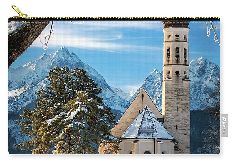 St Carry-all Pouch featuring the photograph Winter Church In Bavaria by Brian Jannsen