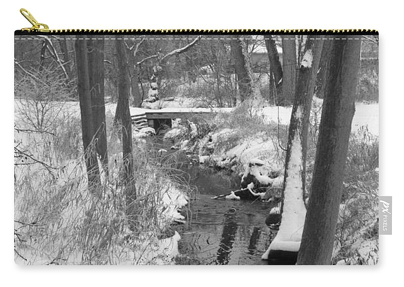 Snow Carry-all Pouch featuring the photograph Winter Creek by Lauri Novak