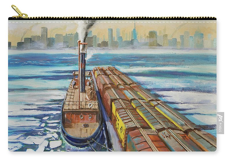 Car Float Carry-all Pouch featuring the painting Winter Crossing by Christopher Jenkins