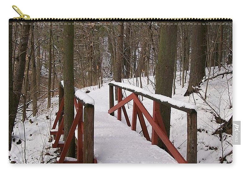 Woods Carry-all Pouch featuring the photograph Winter Crossing by Sara Raber