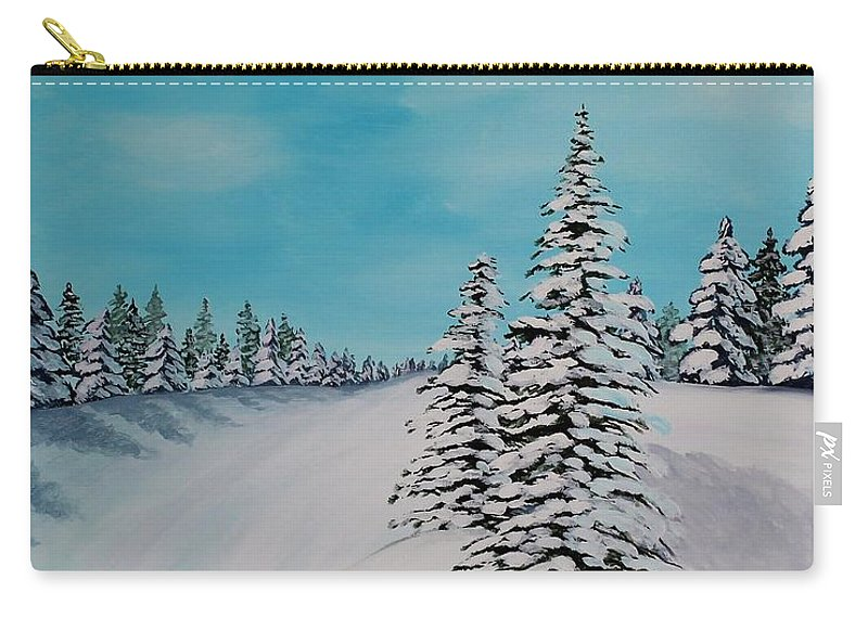 Winter Day Duvet Digital Painting Carry-all Pouch featuring the painting Winter Day Duvet Digital Painting by Barbara Griffin