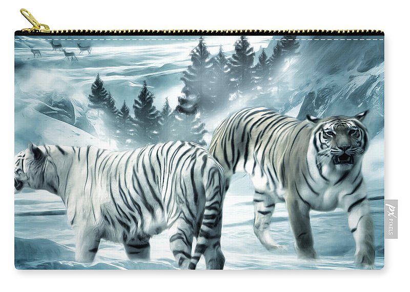 Tiger Carry-all Pouch featuring the photograph Winter Deuces by Lourry Legarde