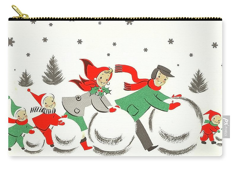 Winter Carry-all Pouch featuring the mixed media Winter Family Fun by Long Shot
