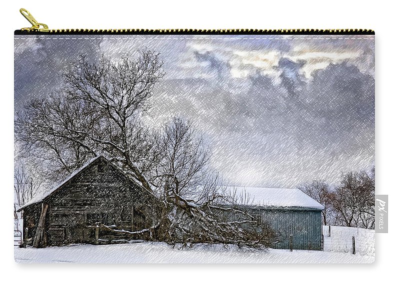 Winter Carry-all Pouch featuring the photograph Winter Farm by Steve Harrington