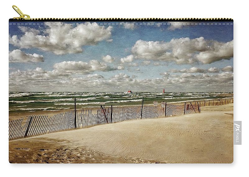 Grand Haven Carry-all Pouch featuring the photograph Winter Fences In Grand Haven 2.0 by Michelle Calkins