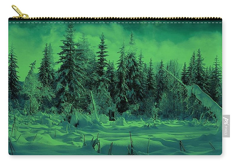 Winter Carry-all Pouch featuring the photograph Winter Forest Dream At Dusk by David Dehner