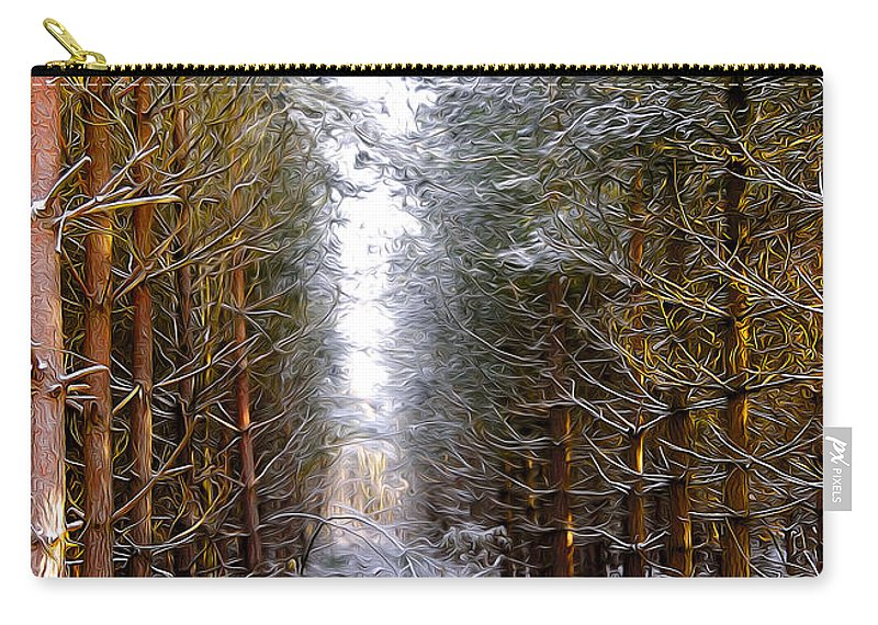 Art Carry-all Pouch featuring the digital art Winter Forest by Svetlana Sewell