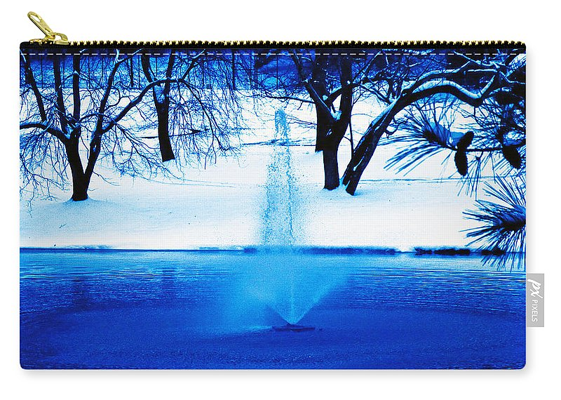 Winter Carry-all Pouch featuring the photograph Winter Fountain 2 by David Campbell