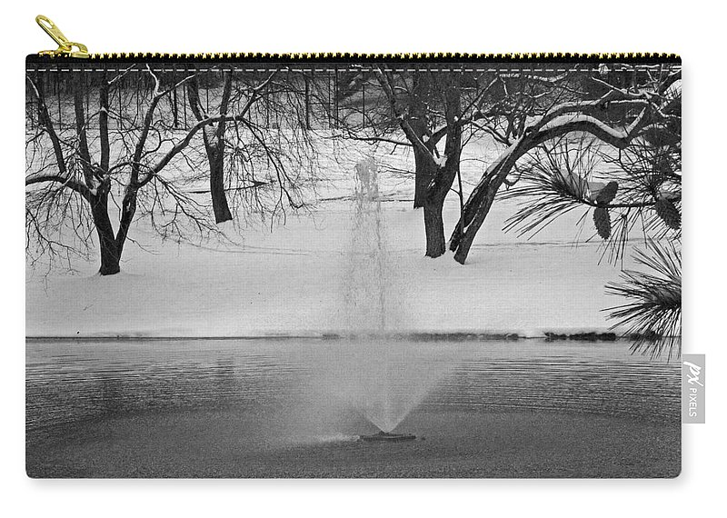 Landscape Carry-all Pouch featuring the photograph Winter Fountain by David Campbell
