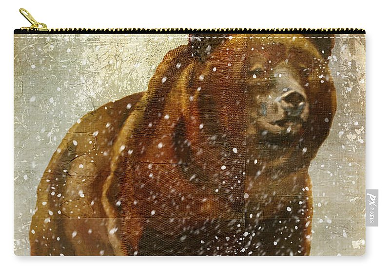 Bear Carry-all Pouch featuring the painting Winter Game Bear by Mindy Sommers
