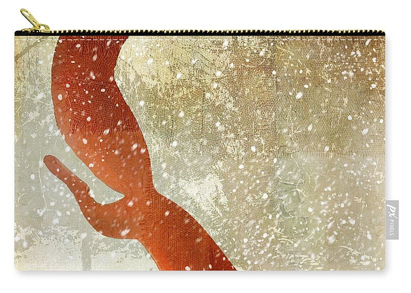 Winter Fox Carry-all Pouch featuring the painting Winter Game Fox by Mindy Sommers