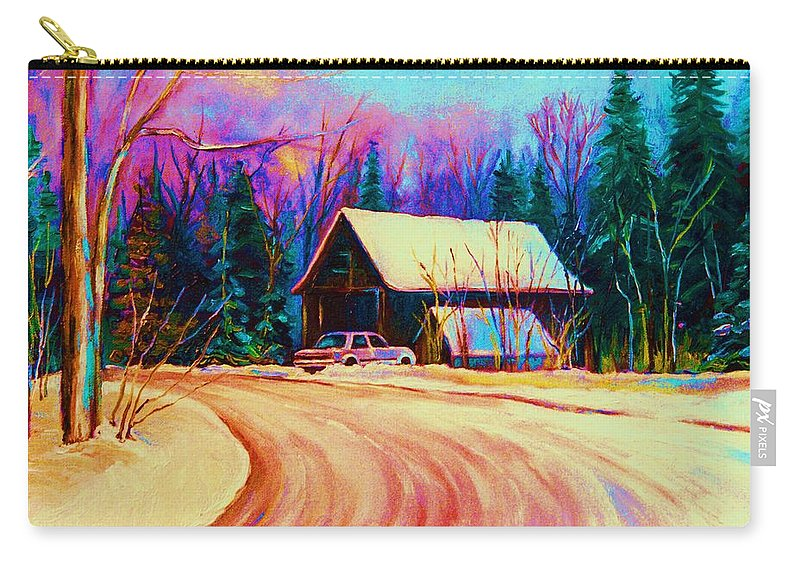 Landscape Carry-all Pouch featuring the painting Winter Getaway by Carole Spandau