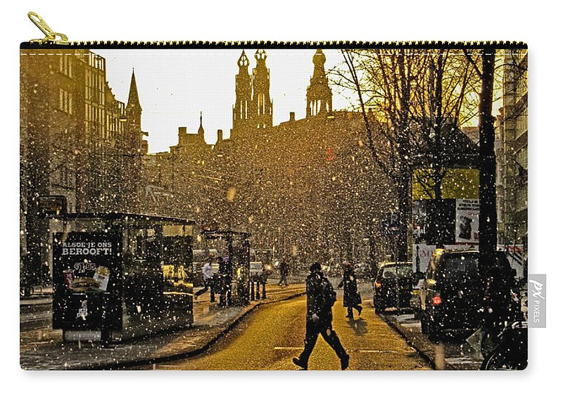 Amsterdam Carry-all Pouch featuring the photograph Winter In Amsterdam-1 by Casper Cammeraat