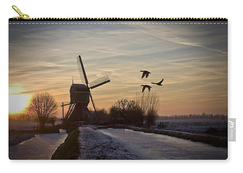 Dutch Carry-all Pouch featuring the photograph Winter In Holland-1 by Casper Cammeraat