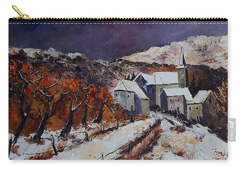 Winter Carry-all Pouch featuring the painting Winter In Luxembourg by Pol Ledent