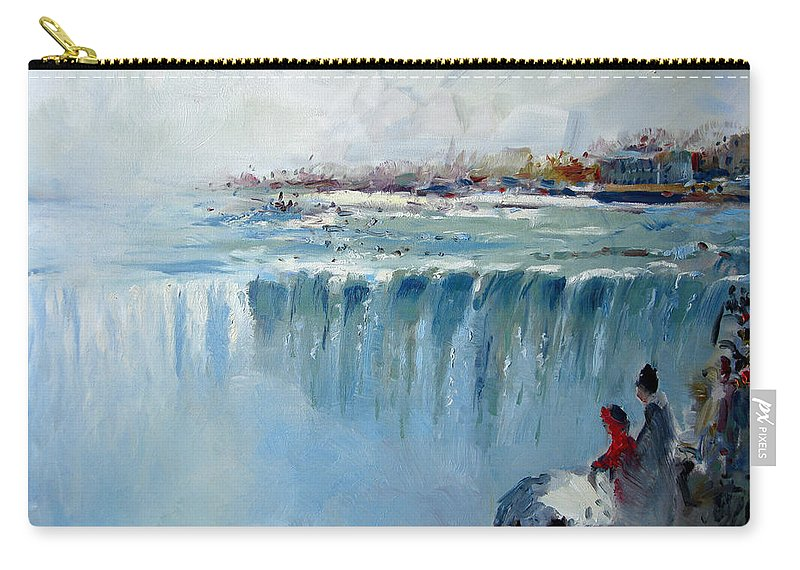 Landscape Carry-all Pouch featuring the painting Winter In Niagara Falls by Ylli Haruni