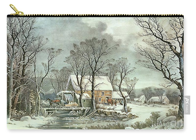 Winter In The Country - The Old Grist Mill Carry-all Pouch featuring the painting Winter In The Country - The Old Grist Mill by Currier and Ives
