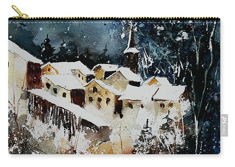 Winter Carry-all Pouch featuring the painting Winter In Vivy by Pol Ledent