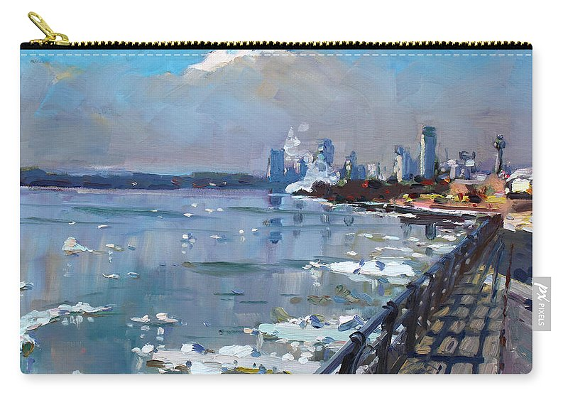 Niagara Falls Carry-all Pouch featuring the painting Winter Is Surrendering Its Weapons by Ylli Haruni