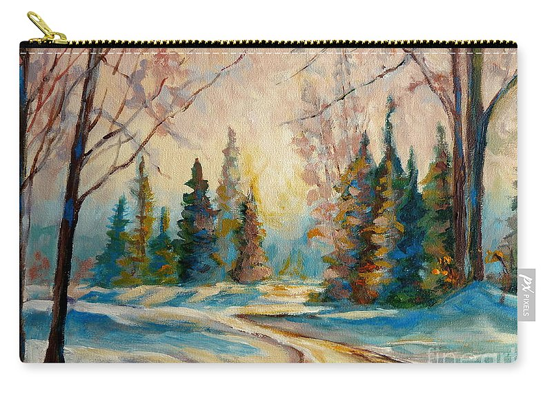 Winter Landscape Knowlton Quebec Carry-all Pouch featuring the painting Winter Landscape Knowlton Quebec by Carole Spandau