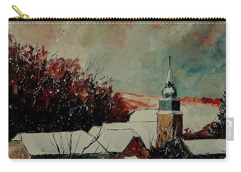 Winter Carry-all Pouch featuring the painting Winter Landscape by Pol Ledent