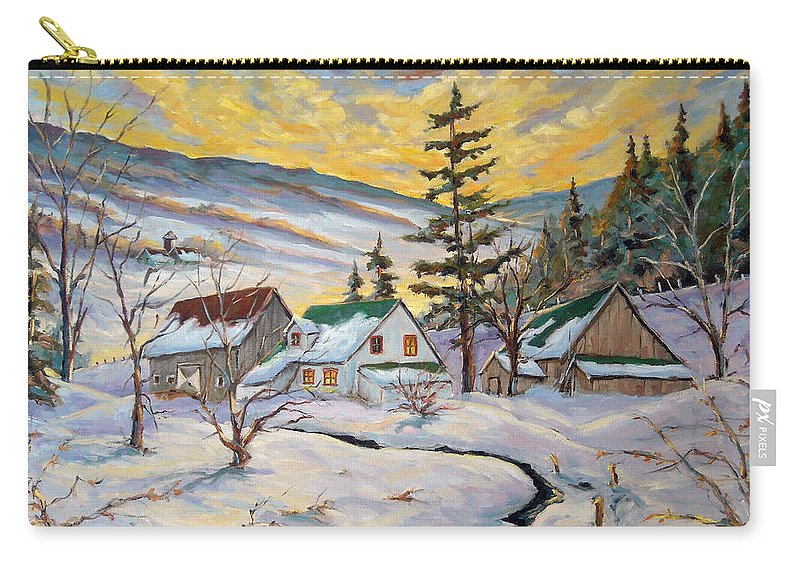 Landscape Carry-all Pouch featuring the painting Winter Lights by Richard T Pranke