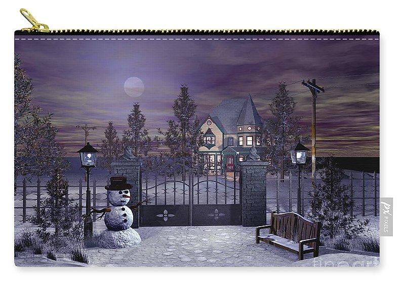 Winter Carry-all Pouch featuring the digital art Winter Night Scene by John Junek