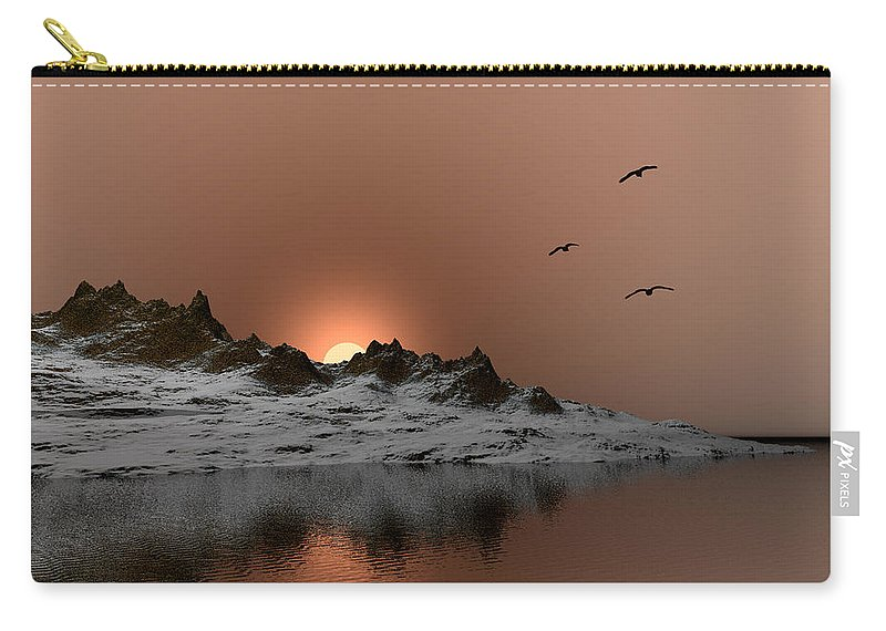 Landscape Carry-all Pouch featuring the digital art winter Ocean Scene by John Junek