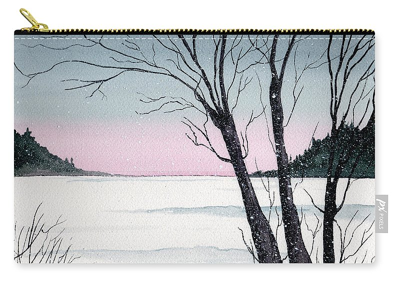 Landscape Carry-all Pouch featuring the painting Winter On The Lake by Brenda Owen