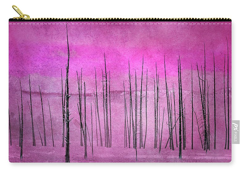Yellowstone Carry-all Pouch featuring the photograph Winter Pink 7913pink by Karen Celella