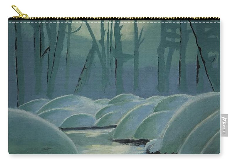River Carry-all Pouch featuring the painting Winter Quiet by Jacqueline Athmann