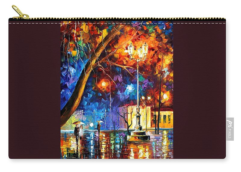 Afremov Carry-all Pouch featuring the painting Winter Rain by Leonid Afremov