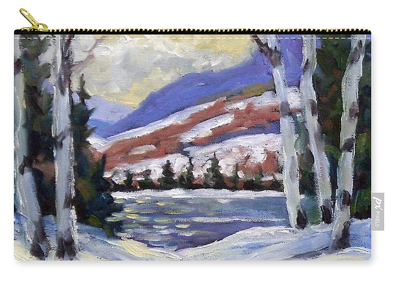 Art Carry-all Pouch featuring the painting Winter Reflections by Richard T Pranke
