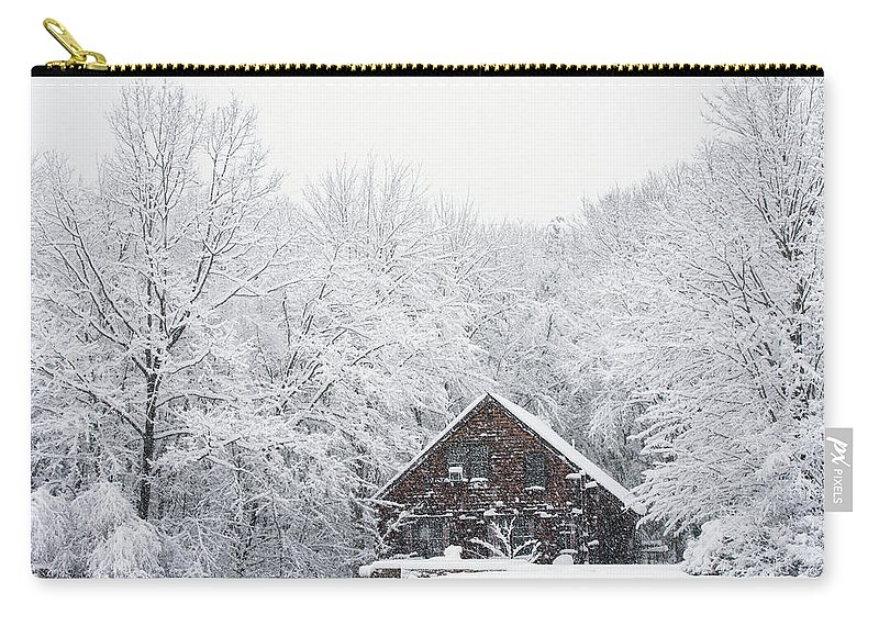Cold Carry-all Pouch featuring the photograph Winter Ride Snowy Pond by Justin Mountain