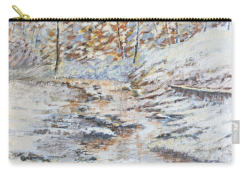 Landscape Carry-all Pouch featuring the painting Winter River by Todd A Blanchard