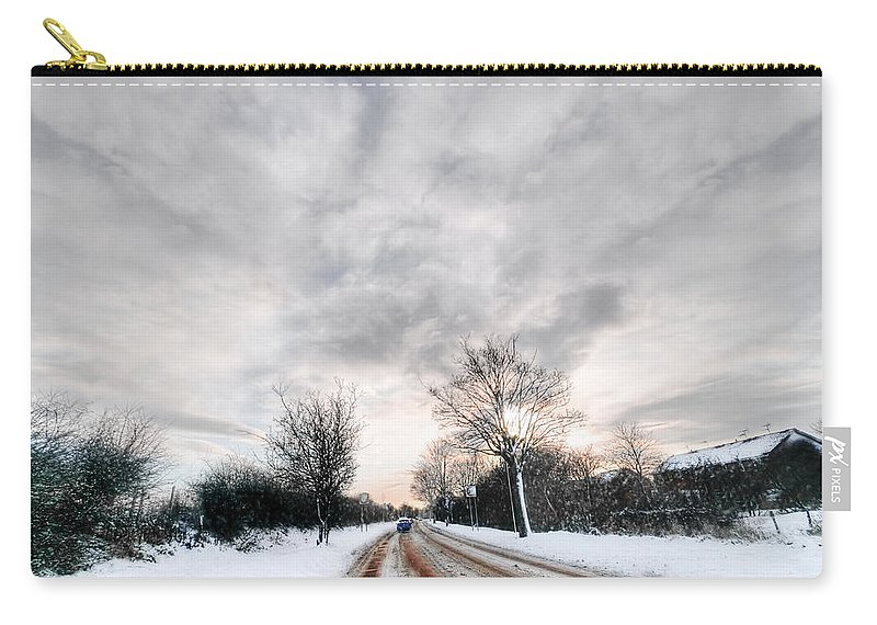 Winter Road Carry-all Pouch featuring the photograph Winter Road by Svetlana Sewell