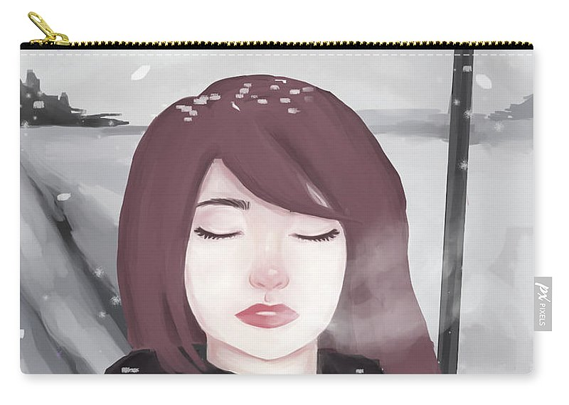 Winter Carry-all Pouch featuring the digital art Winter by Sali Alalwani