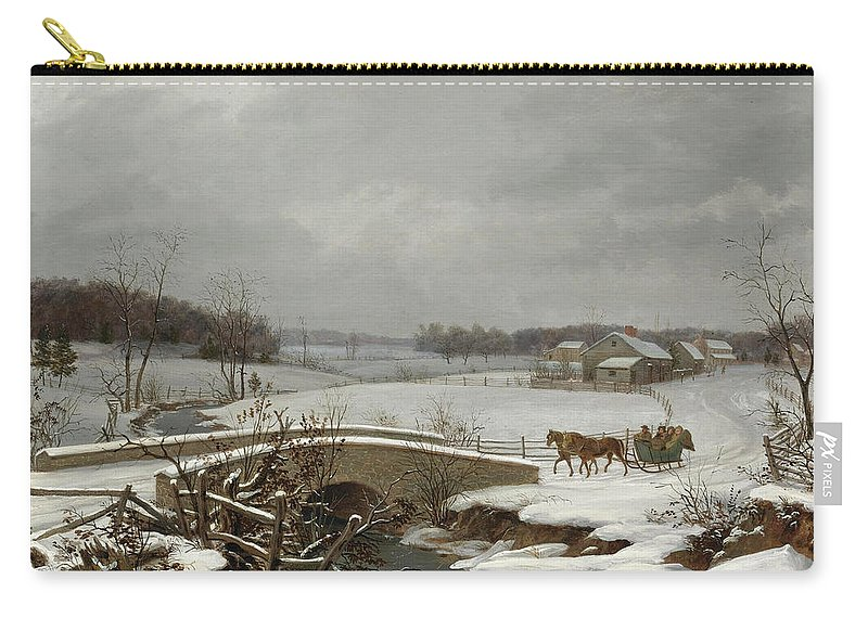 Thomas Birch Carry-all Pouch featuring the painting Winter Scene In Pennsylvania by Thomas Birch