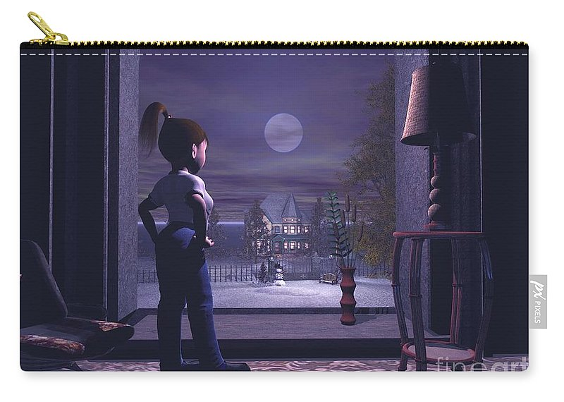 Winter Scene Threw A Window Carry-all Pouch featuring the digital art Winter Scene Threw A Window by John Junek