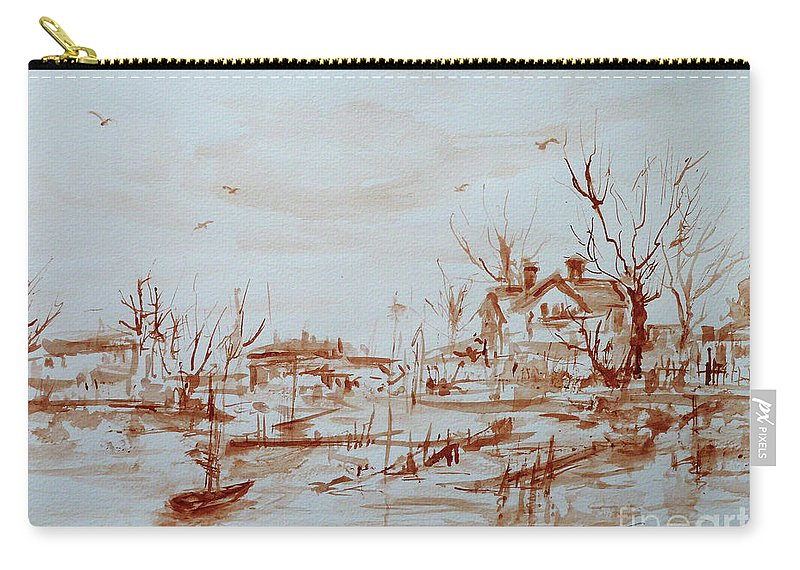 Landscape Carry-all Pouch featuring the painting Winter Sketch 1 by Xueling Zou