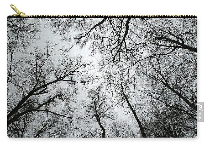 Winter Sky Tree Trees Grey Gloomy Peaceful Quite Calm Peace Cloudy Overcast Dark Carry-all Pouch featuring the photograph Winter Sky by Andrei Shliakhau