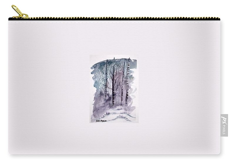 Watercolor Landscape Painting Carry-all Pouch featuring the painting Winter Snow Landscape Painting Print by Derek Mccrea