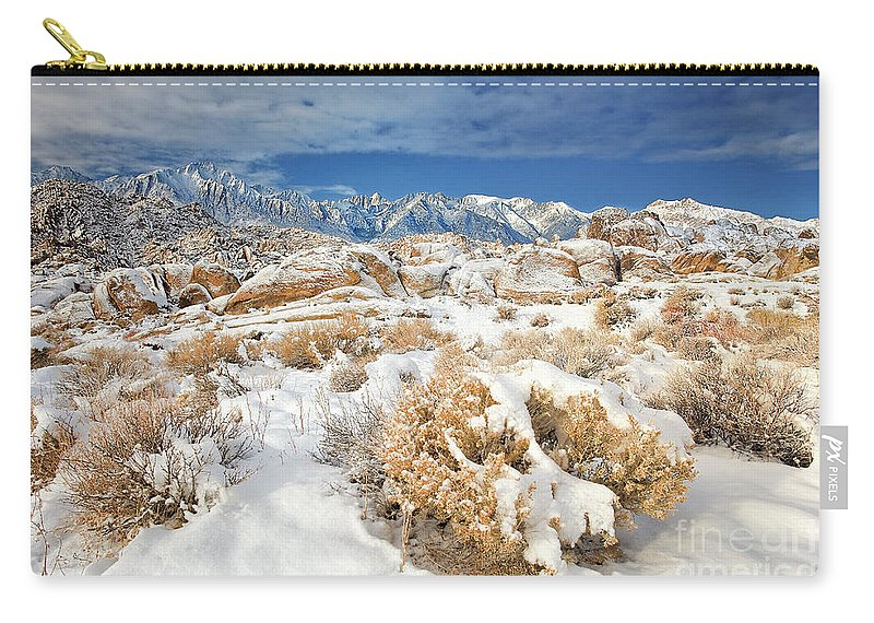 North America Landscape Carry-all Pouch featuring the photograph Winter Snowstorm Blankets The Alabama Hills California by Dave Welling