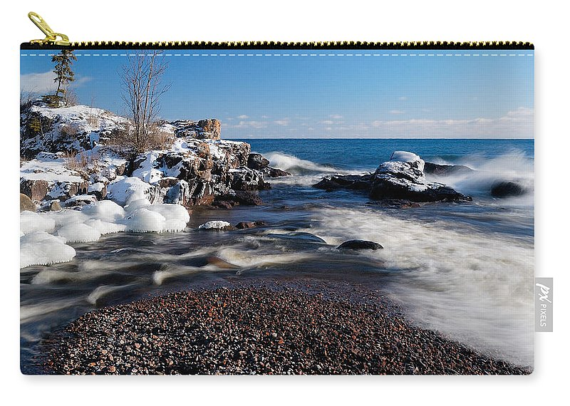 Michigan Carry-all Pouch featuring the photograph Winter Splash by Sebastian Musial