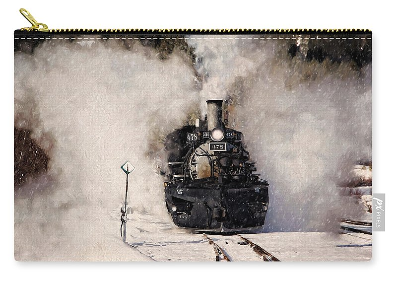 Steam Train Carry-all Pouch featuring the photograph Winter Steam At Rockwood Colorado by Ken Smith