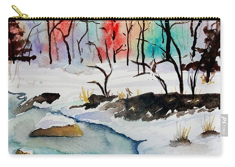 Colors Carry-all Pouch featuring the painting Winter Stream by Jimmy Smith