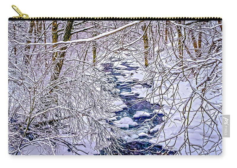 Landscape Carry-all Pouch featuring the photograph Winter Stream by Ron Christie