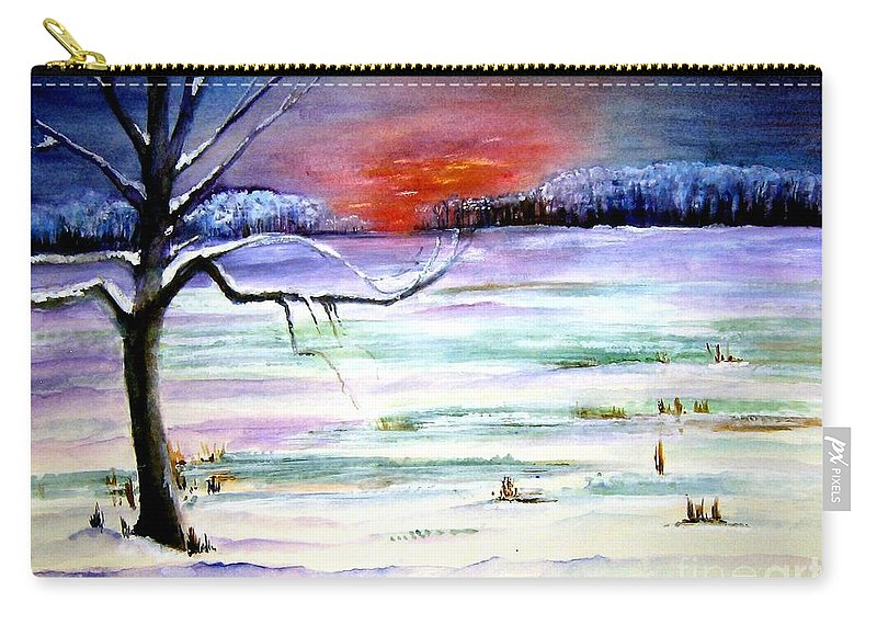 Ice Carry-all Pouch featuring the painting Winter Sun by Sandy Ryan