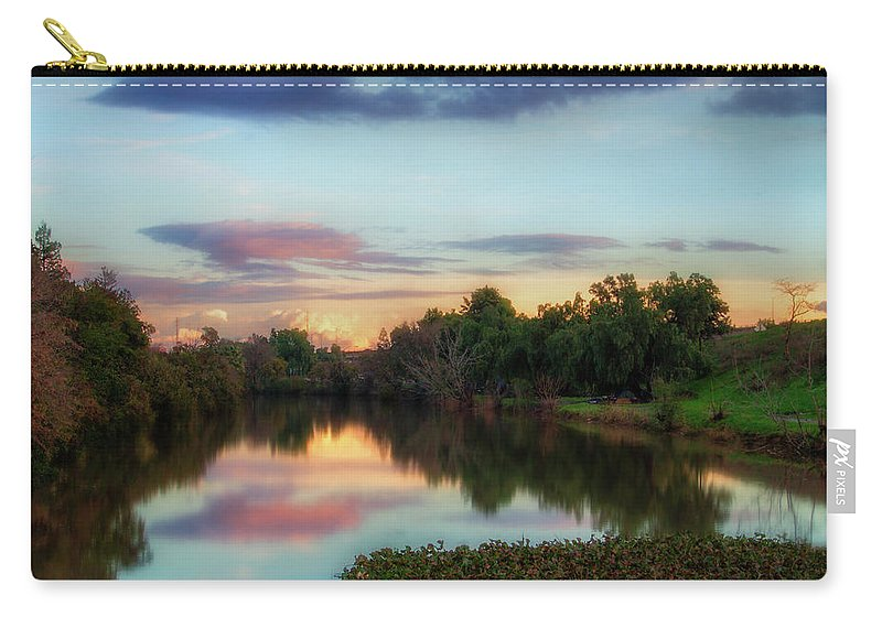Photography Carry-all Pouch featuring the digital art Winter Sunset On The Slough by Terry Davis