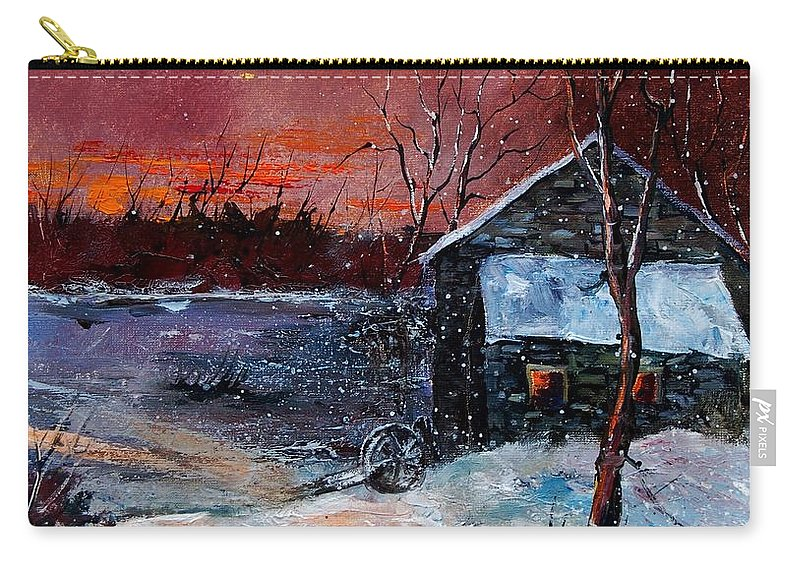Winter Carry-all Pouch featuring the painting Winter Sunset by Pol Ledent